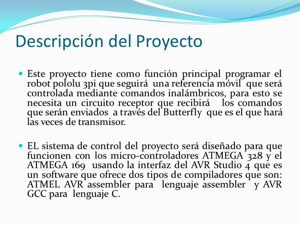 //rutina para el uso del sensor sharp de proximidad, de acuerdo a las siguientes condiciones como prioriodad }else if( (front_proximity > set_point_l) && (left_proximity > set_point_l)){ // MUY CERCA set_motors(-75, -75); // retrocedo }else if( (front_proximity > set_point_f) && (left_proximity > set_point_f)){ // MUY LEJOS set_motors(100, 100); // me aproximo }else if(front_proximity > set_point_f){ // ESTA A LA DERECHA set_motors(75, -75); // roto a la derecha }else if(left_proximity > set_point_l){ // ESTA A LA IZQUIERDA set_motors(-75, 75); // roto a la izquierda }else if( (front_proximity > 10) && (left_proximity > 10)){ // no encuentra el objeto del rango deseado set_motors( 0, 0); // detengo el vehiculo } delay_ms(50); } } //Implementación de procedimiento /* Se configuran los registros para la transmisión por USART de manera que el dato recibido indica el BAUDRATE al cual se va a trabajar */ void USART_Init(unsigned int baudrate) { // Set baud rate UBRR0H = (unsigned char)(baudrate>>8); UBRR0L = (unsigned char)baudrate; //UCSR0A = (0<<U2X0); // Enable receiver and transmitter UCSR0B = (1<<RXEN0)|(1<<TXEN0); // Async.