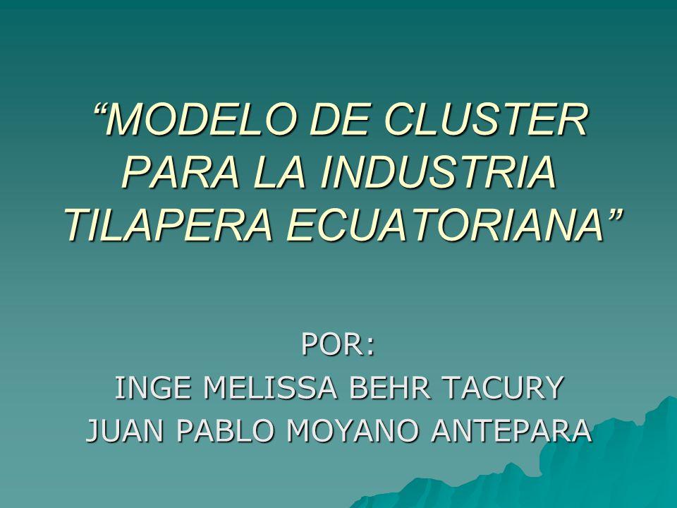 MODELO DE CLUSTER PARA LA INDUSTRIA TILAPERA ECUATORIANA POR: INGE MELISSA BEHR TACURY JUAN PABLO MOYANO ANTEPARA