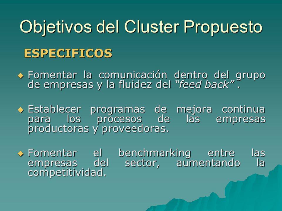 Objetivos del Cluster Propuesto Fomentar la comunicación dentro del grupo de empresas y la fluidez del feed back. Fomentar la comunicación dentro del