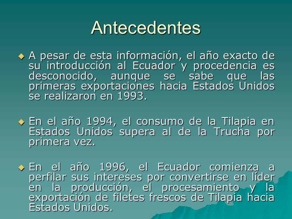 Antecedentes A pesar de esta información, el año exacto de su introducción al Ecuador y procedencia es desconocido, aunque se sabe que las primeras ex