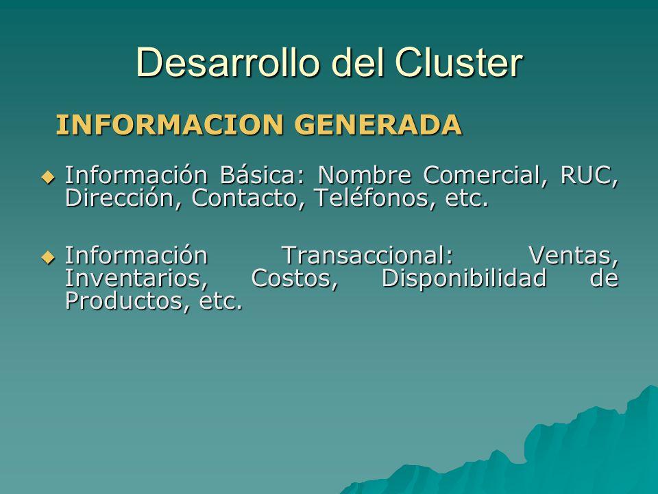 Desarrollo del Cluster Información Básica: Nombre Comercial, RUC, Dirección, Contacto, Teléfonos, etc. Información Básica: Nombre Comercial, RUC, Dire