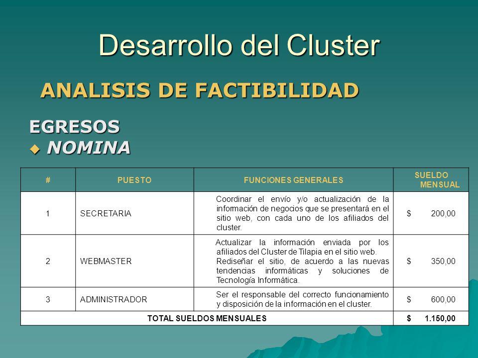 Desarrollo del Cluster ANALISIS DE FACTIBILIDAD #PUESTOFUNCIONES GENERALES SUELDO MENSUAL 1SECRETARIA Coordinar el envío y/o actualización de la infor