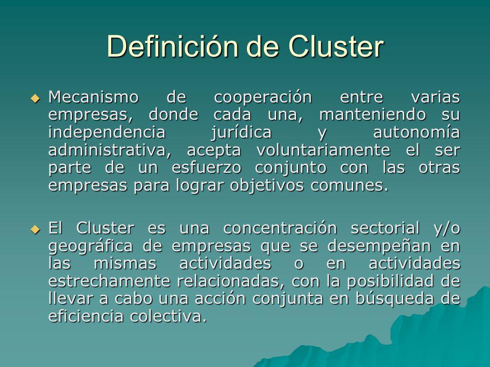 Definición de Cluster Mecanismo de cooperación entre varias empresas, donde cada una, manteniendo su independencia jurídica y autonomía administrativa