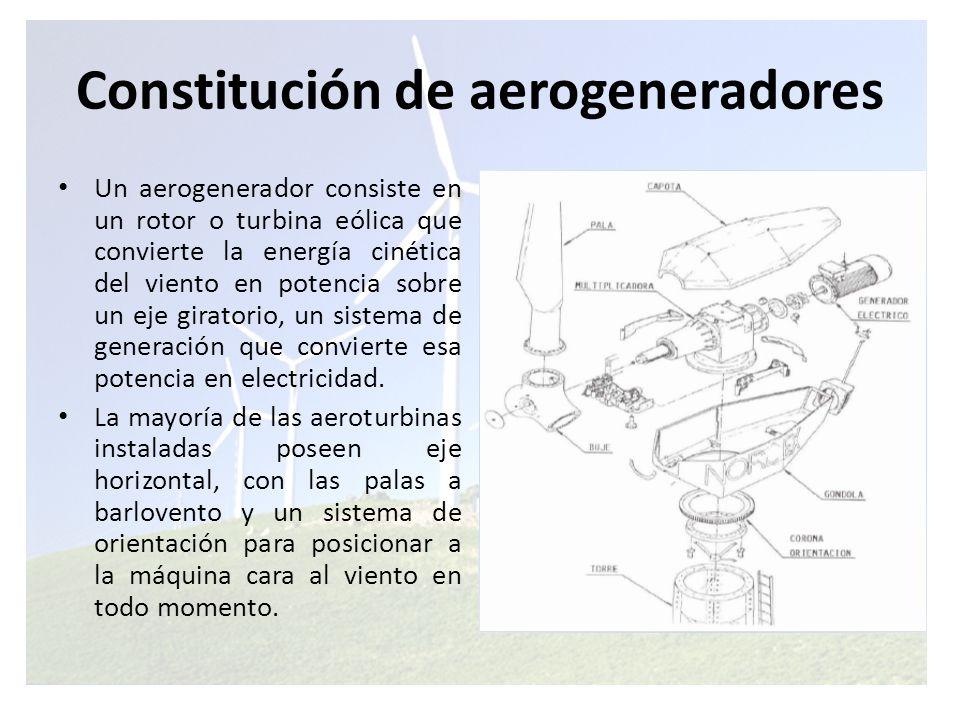 La constitución típica de un aerogenerador incluye principalmente los siguientes elementos: Pa las del Rotor: capturan el viento y transmiten su potencia hacia el buje.