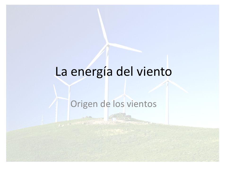 La energía del viento La circulación atmosférica viene determinada por: La diferencia constante de temperatura que existe entre el ecuador y los polos La rotación de la Tierra.
