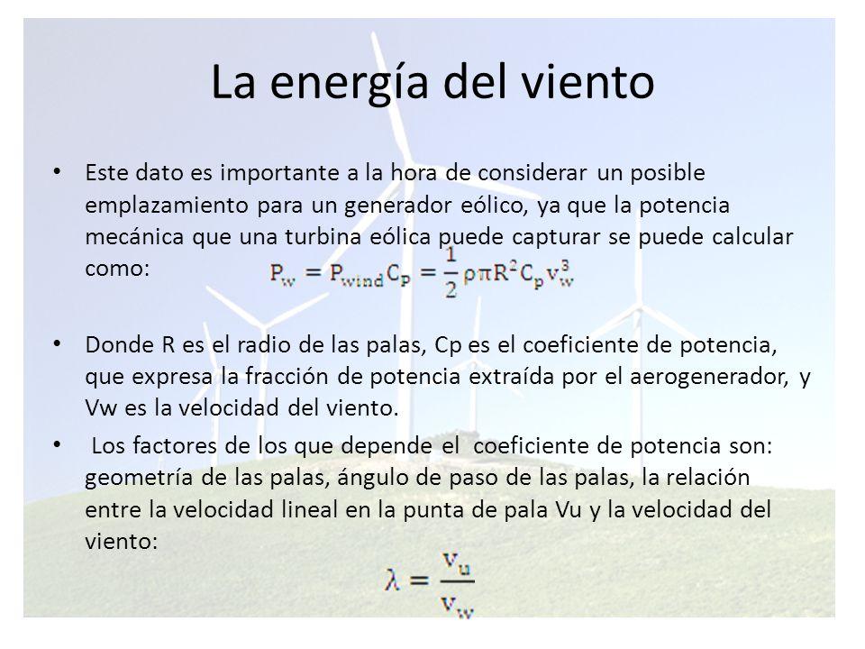 La energía del viento Ejemplo de la evolución del coeficiente de potencia en función de la relación de velocidades.
