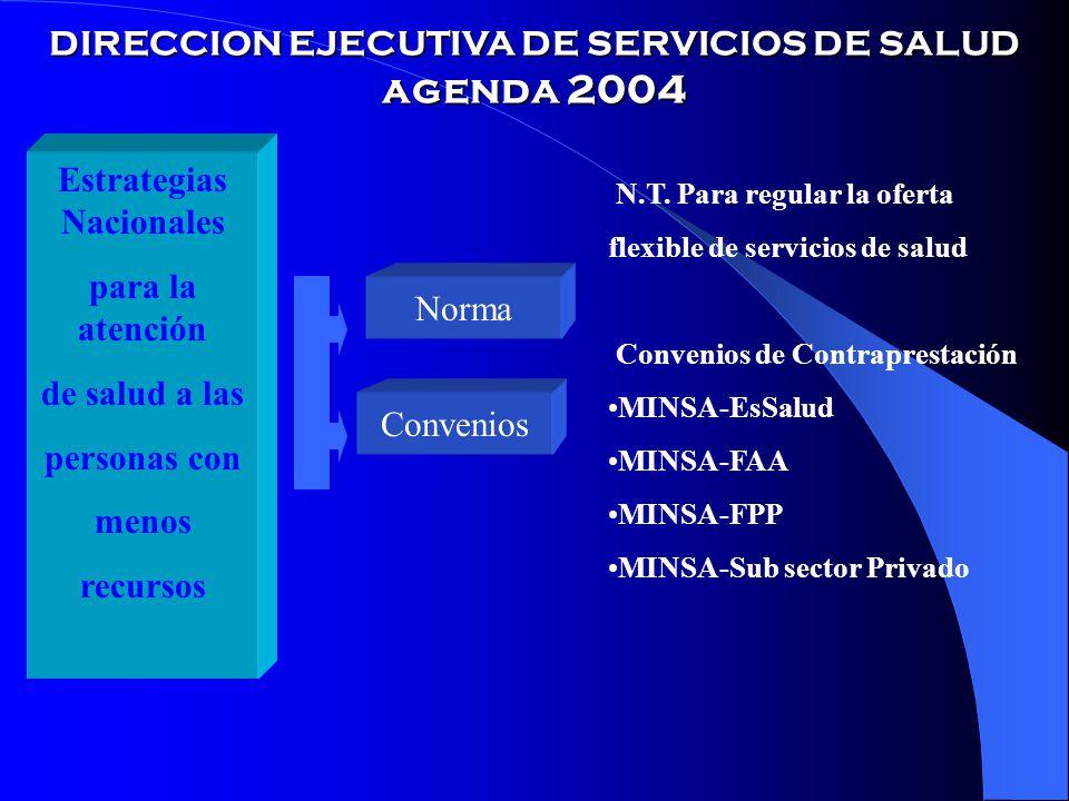 DIRECCION EJECUTIVA DE SERVICIOS DE SALUD agenda 2004 Estrategias Nacionales para la atención de salud a las personas con menos recursos Norma Convenios N.T.