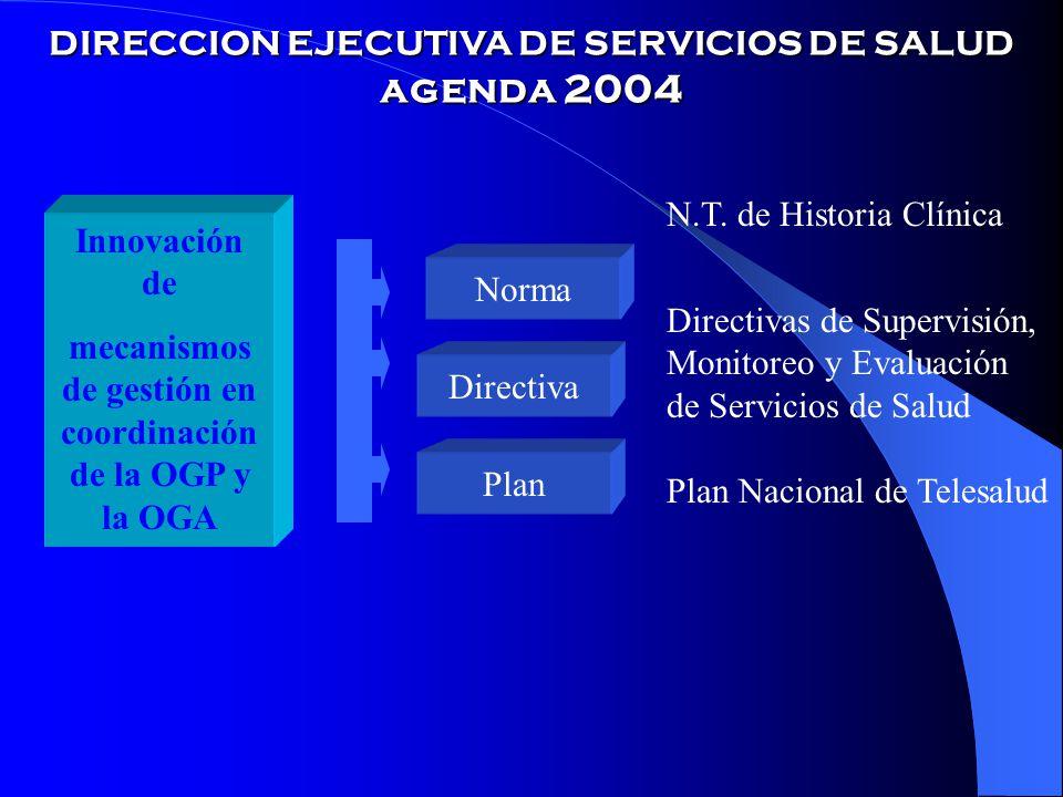 DIRECCION EJECUTIVA DE SERVICIOS DE SALUD agenda 2004 Innovación de mecanismos de gestión en coordinación de la OGP y la OGA Norma Directiva Plan N.T.