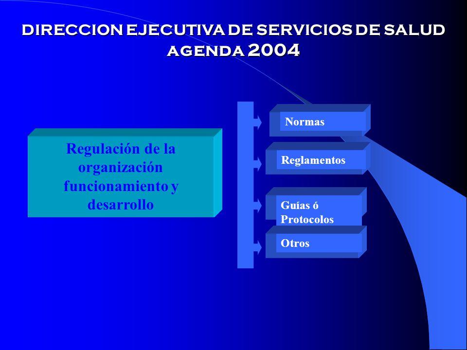 DIRECCION EJECUTIVA DE SERVICIOS DE SALUD agenda 2004 Regulación de la organización funcionamiento y desarrollo Normas Reglamentos Guías ó Protocolos Otros
