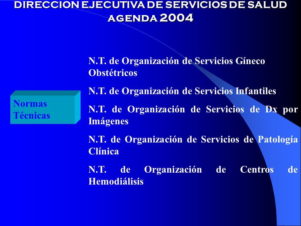 DIRECCION EJECUTIVA DE SERVICIOS DE SALUD agenda 2004 Normas Técnicas N.T.