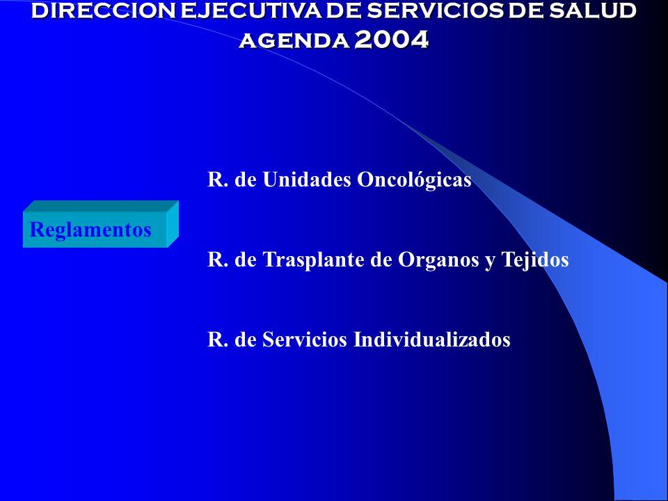 DIRECCION EJECUTIVA DE SERVICIOS DE SALUD agenda 2004 Reglamentos R.