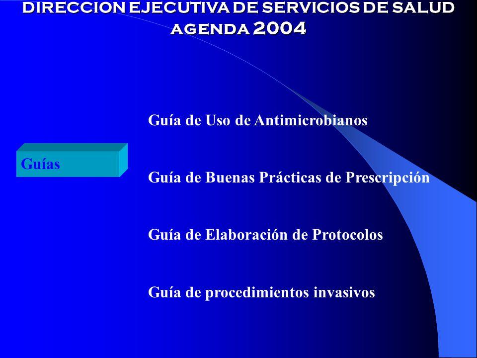 DIRECCION EJECUTIVA DE SERVICIOS DE SALUD agenda 2004 Guías Guía de Uso de Antimicrobianos Guía de Buenas Prácticas de Prescripción Guía de Elaboración de Protocolos Guía de procedimientos invasivos