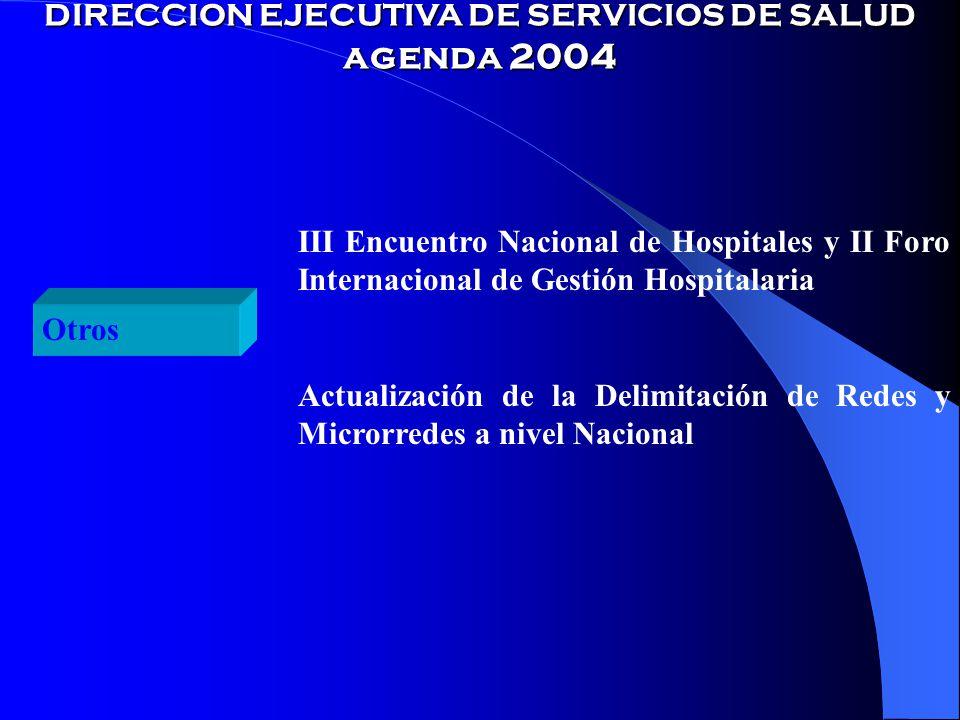 DIRECCION EJECUTIVA DE SERVICIOS DE SALUD agenda 2004 Otros III Encuentro Nacional de Hospitales y II Foro Internacional de Gestión Hospitalaria Actualización de la Delimitación de Redes y Microrredes a nivel Nacional
