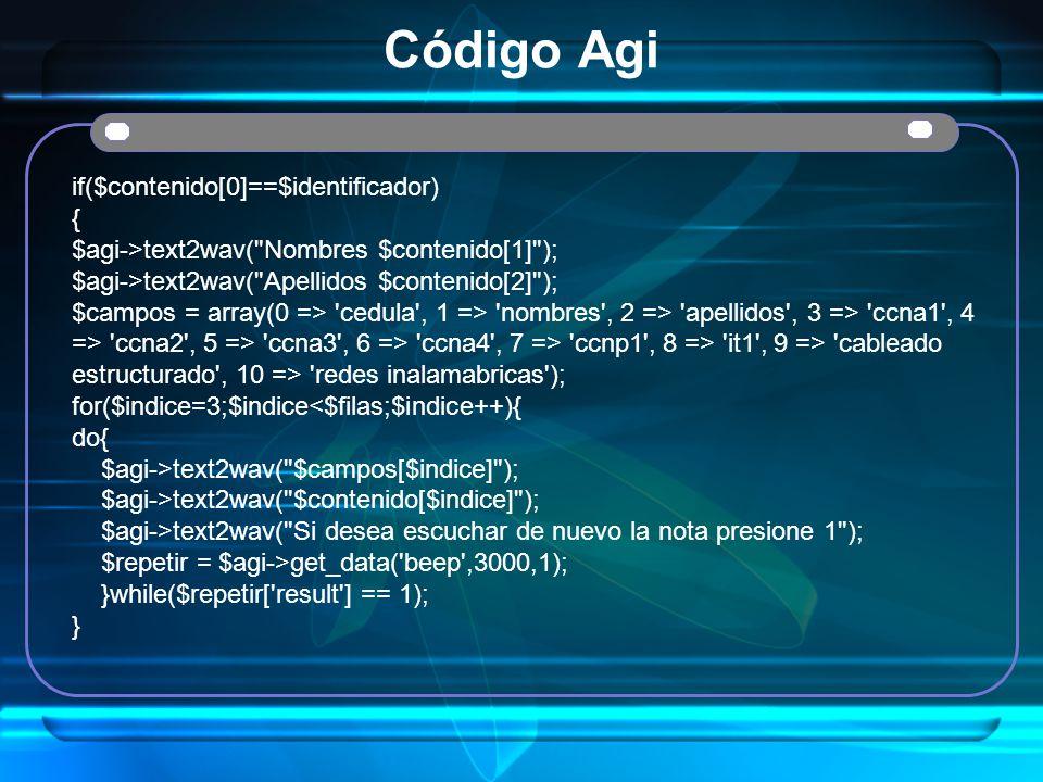 Código Agi if($contenido[0]==$identificador) { $agi->text2wav(