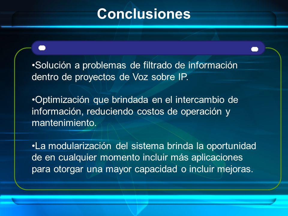 Conclusiones Solución a problemas de filtrado de información dentro de proyectos de Voz sobre IP. Optimización que brindada en el intercambio de infor