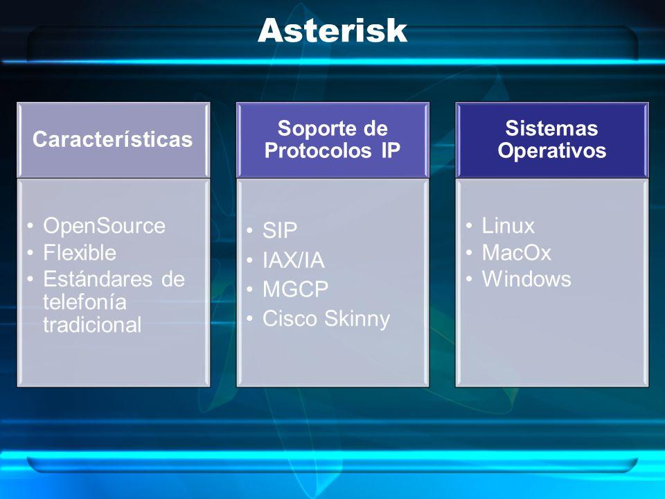 Asterisk Sistemas Operativos Linux MacOx Windows Soporte de Protocolos IP SIP IAX/IA MGCP Cisco Skinny Características OpenSource Flexible Estándares