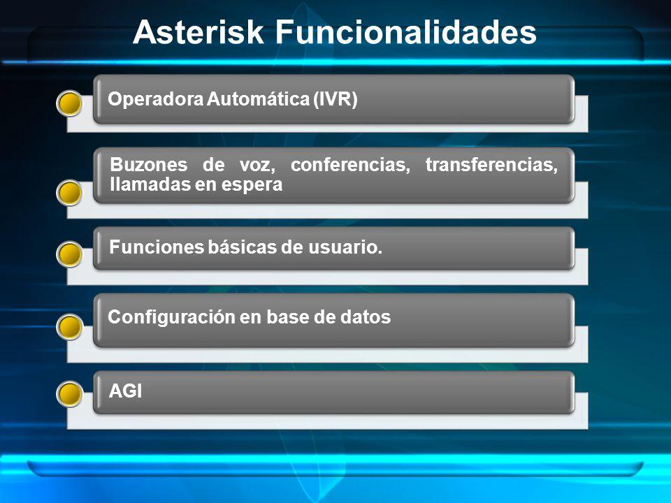 Asterisk Funcionalidades Buzones de voz, conferencias, transferencias, llamadas en espera Funciones básicas de usuario.AGI Operadora Automática (IVR)