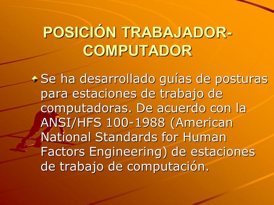 POSICIÓN TRABAJADOR- COMPUTADOR Se ha desarrollado guías de posturas para estaciones de trabajo de computadoras. De acuerdo con la ANSI/HFS 100-1988 (