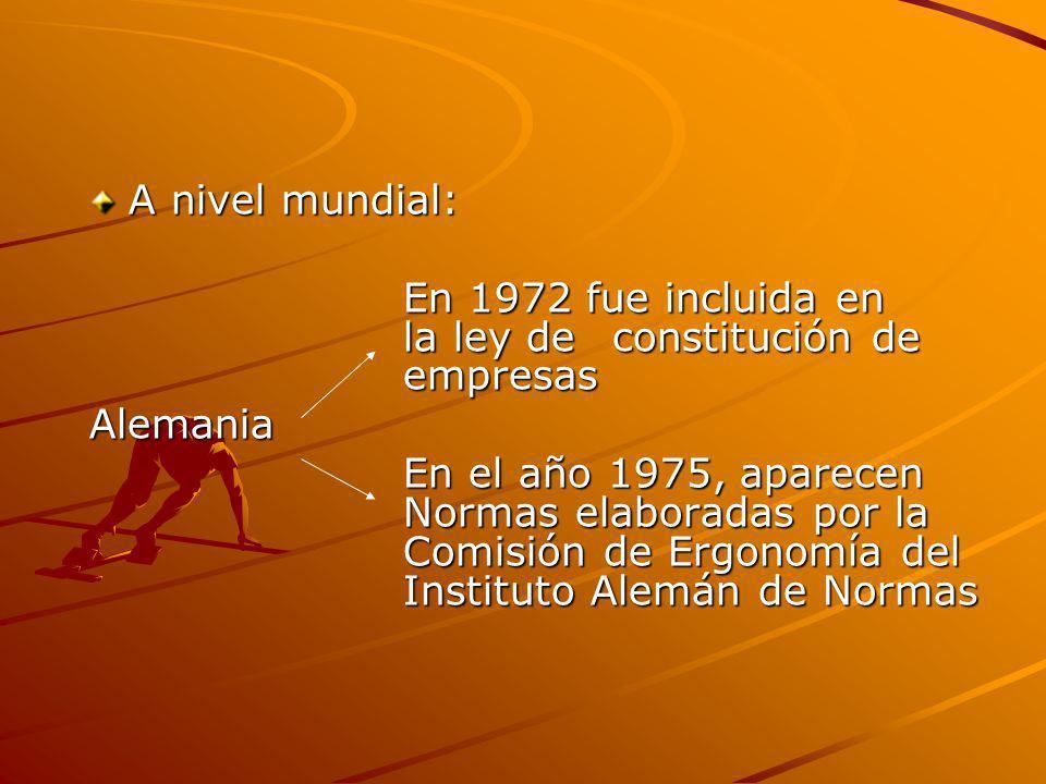 A nivel mundial: En 1972 fue incluida en la ley deconstitución de empresas Alemania En el año 1975, aparecen Normas elaboradas por la Comisión de Ergo