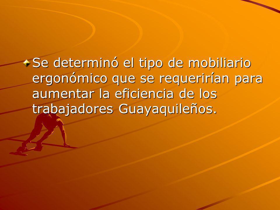 Se determinó el tipo de mobiliario ergonómico que se requerirían para aumentar la eficiencia de los trabajadores Guayaquileños.