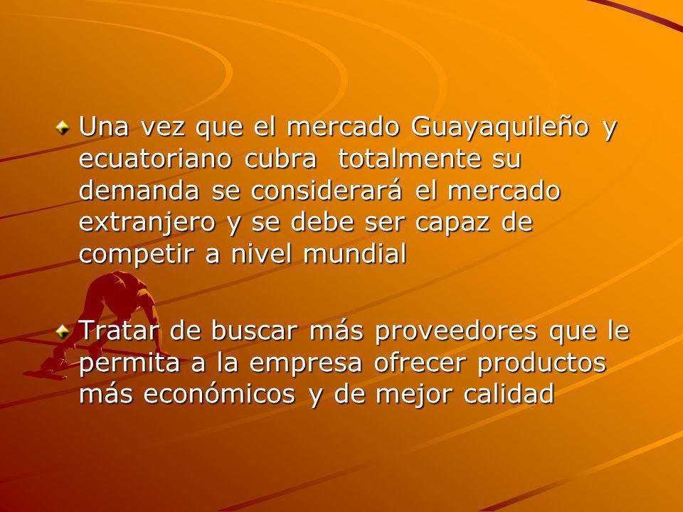 Una vez que el mercado Guayaquileño y ecuatoriano cubra totalmente su demanda se considerará el mercado extranjero y se debe ser capaz de competir a n