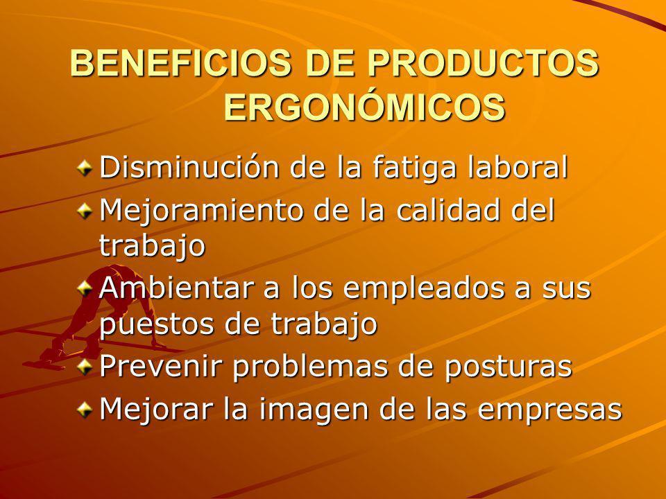 BENEFICIOS DE PRODUCTOS ERGONÓMICOS Disminución de la fatiga laboral Mejoramiento de la calidad del trabajo Ambientar a los empleados a sus puestos de