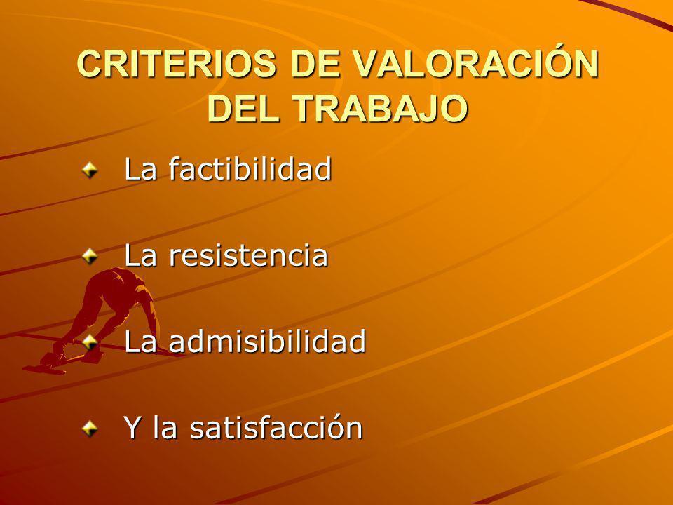 CRITERIOS DE VALORACIÓN DEL TRABAJO La factibilidad La resistencia La admisibilidad Y la satisfacción