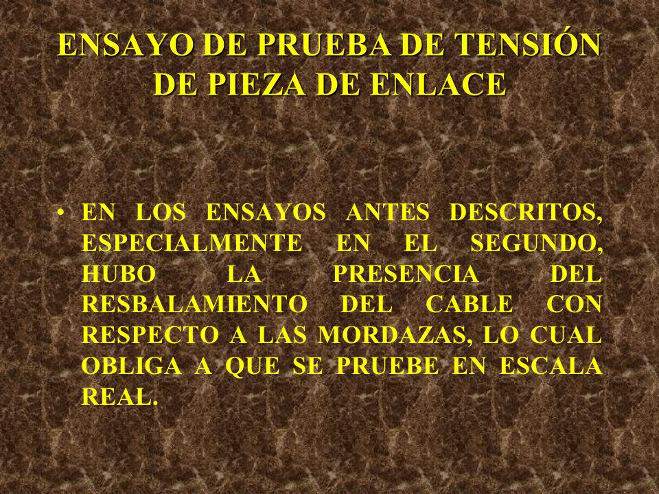 ENSAYO DE PRUEBA DE TENSIÓN DE PIEZA DE ENLACE EN ESTE SISTEMA LOS ESFUERZOS NO SE PROVOCAN EN UNA MISMA LÍNEA DE ACCIÓN, LO QUE LLEVA A PRESENTARSE COMBINACIÓN DE ESFUERZOS DIFÍCILES DE CUANTIFICAR.