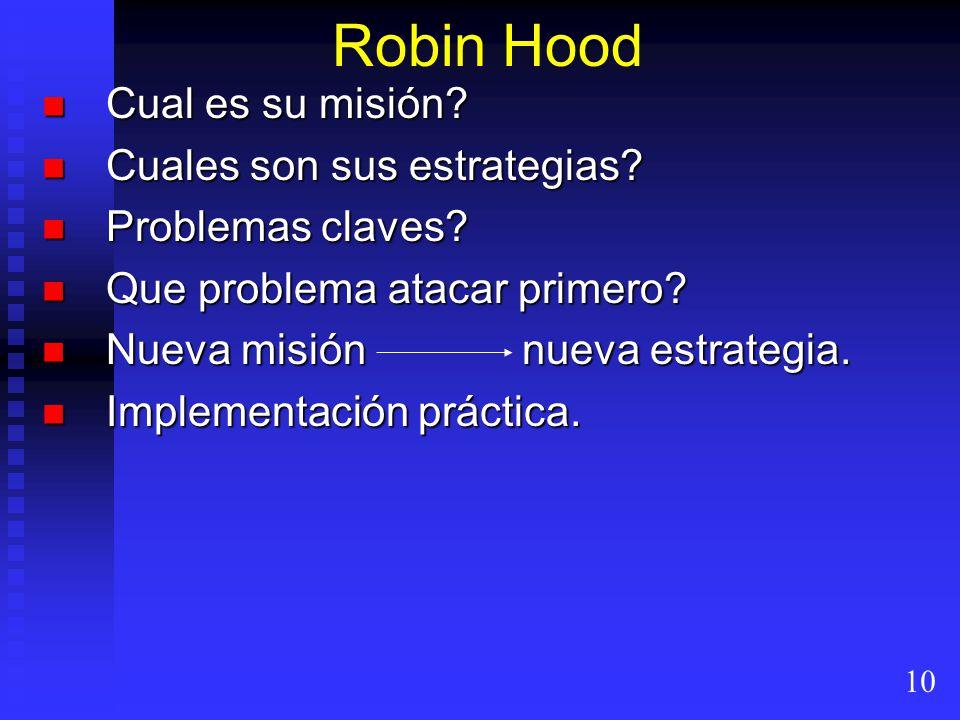 Robin Hood Cual es su misión? Cual es su misión? Cuales son sus estrategias? Cuales son sus estrategias? Problemas claves? Problemas claves? Que probl