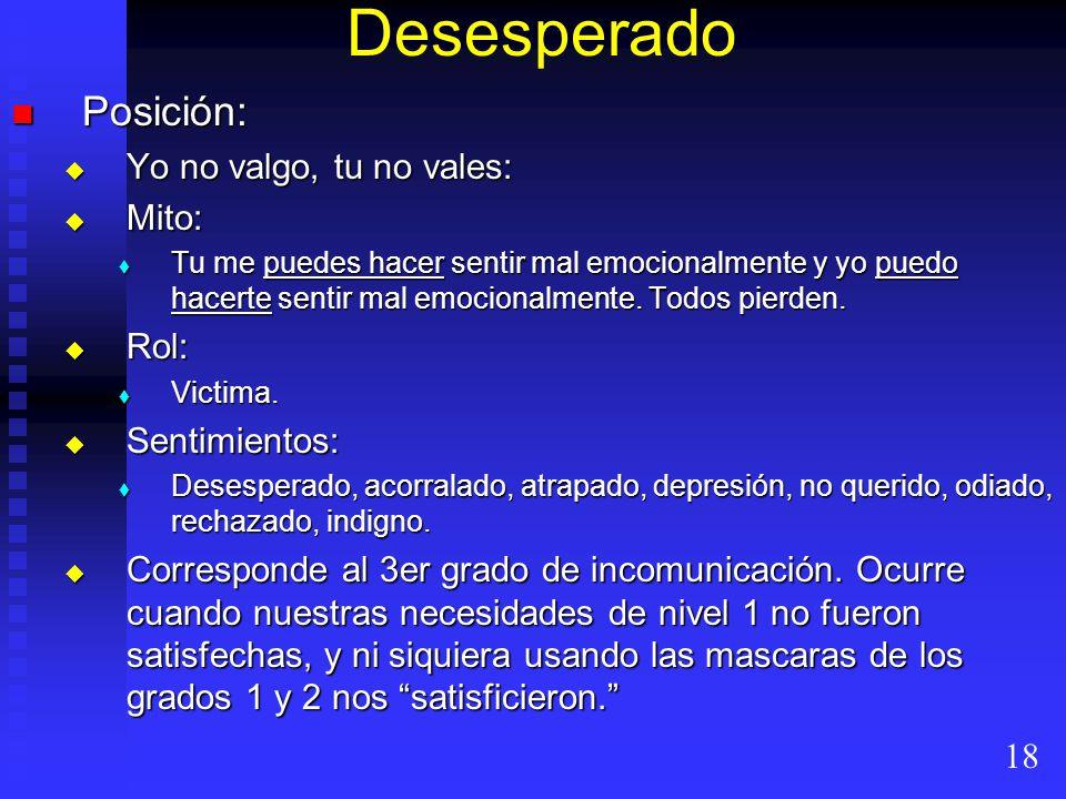 Desesperado Posición: Posición: Yo no valgo, tu no vales: Yo no valgo, tu no vales: Mito: Mito: Tu me puedes hacer sentir mal emocionalmente y yo pued