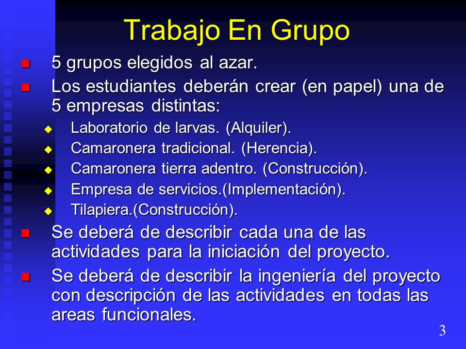 Trabajo En Grupo 5 grupos elegidos al azar. 5 grupos elegidos al azar. Los estudiantes deberán crear (en papel) una de 5 empresas distintas: Los estud