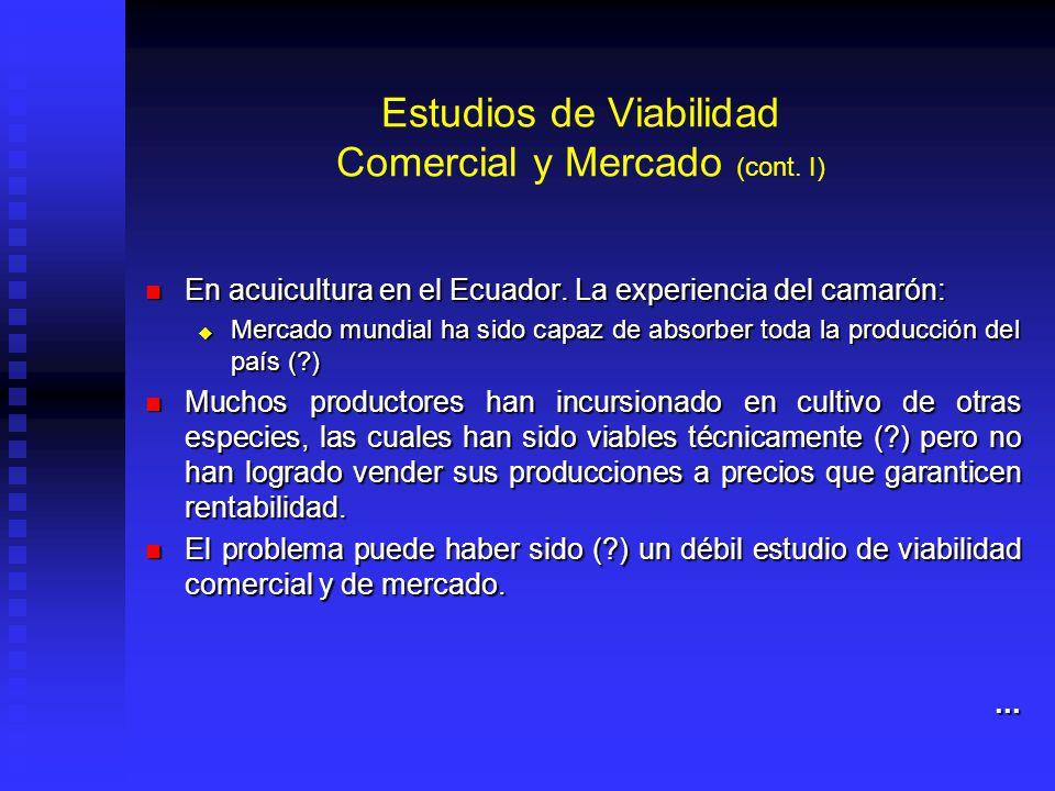 Estudios de Viabilidad Comercial y Mercado (cont. I) En acuicultura en el Ecuador. La experiencia del camarón: En acuicultura en el Ecuador. La experi