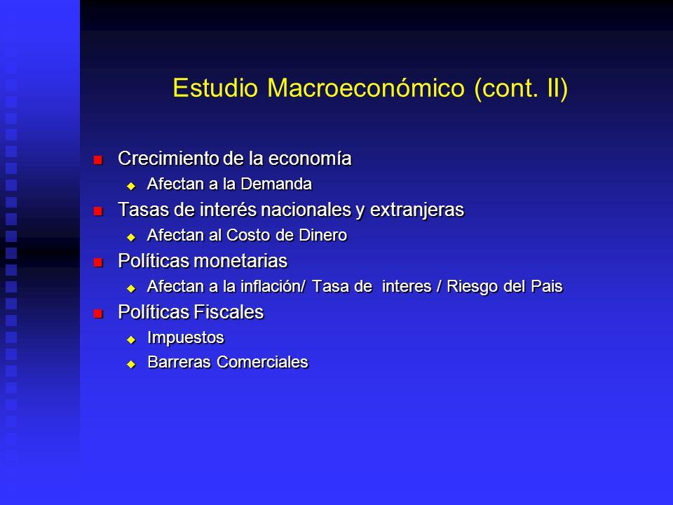 Estudio Macroeconómico (cont. II) Crecimiento de la economía Crecimiento de la economía Afectan a la Demanda Afectan a la Demanda Tasas de interés nac