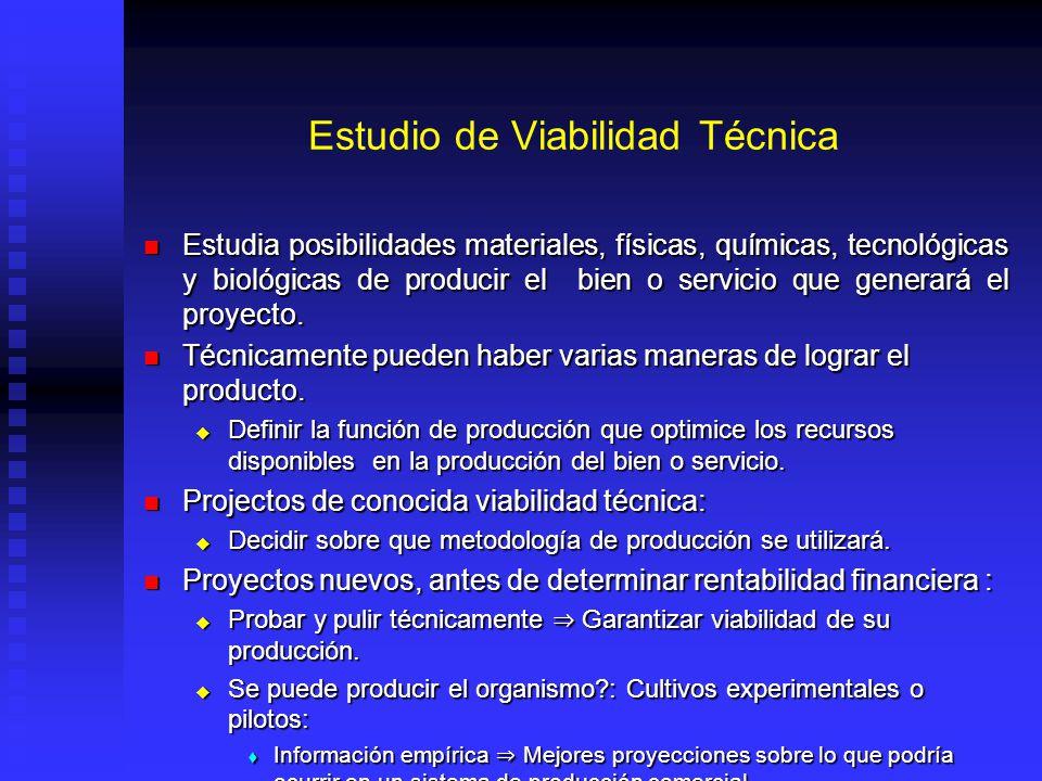 Estudio de Viabilidad Técnica Estudia posibilidades materiales, físicas, químicas, tecnológicas y biológicas de producir el bien o servicio que genera
