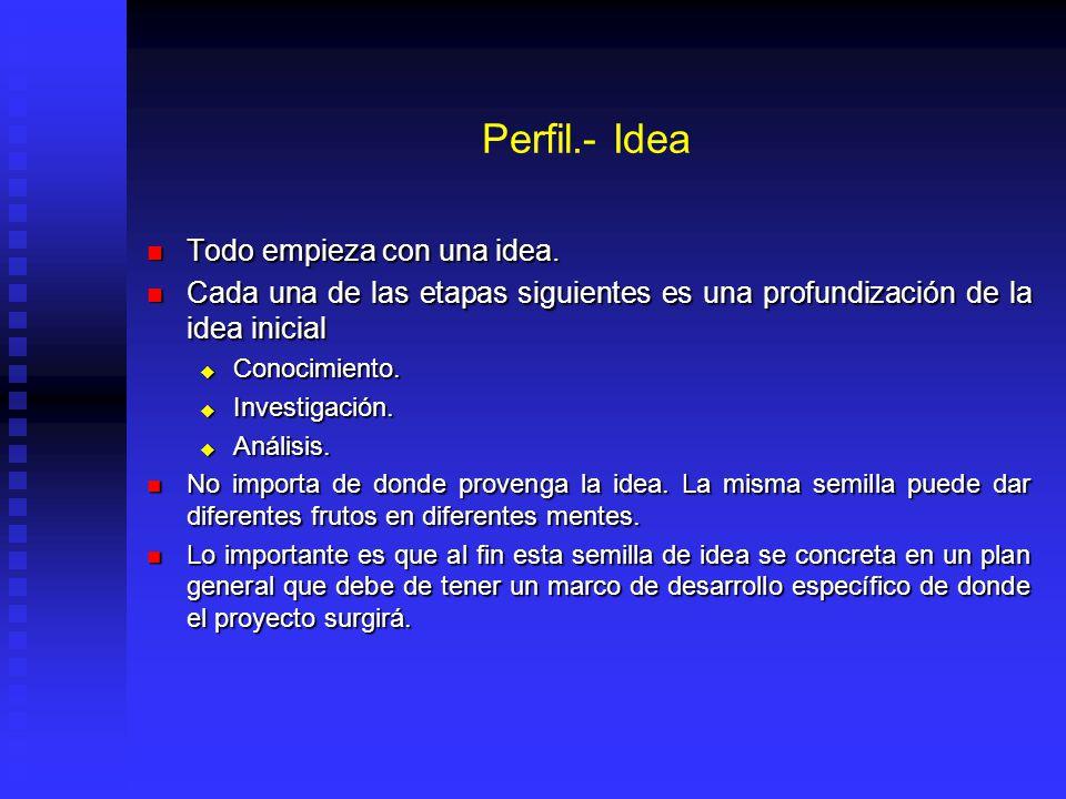 Perfil.- Idea Todo empieza con una idea. Todo empieza con una idea. Cada una de las etapas siguientes es una profundización de la idea inicial Cada un