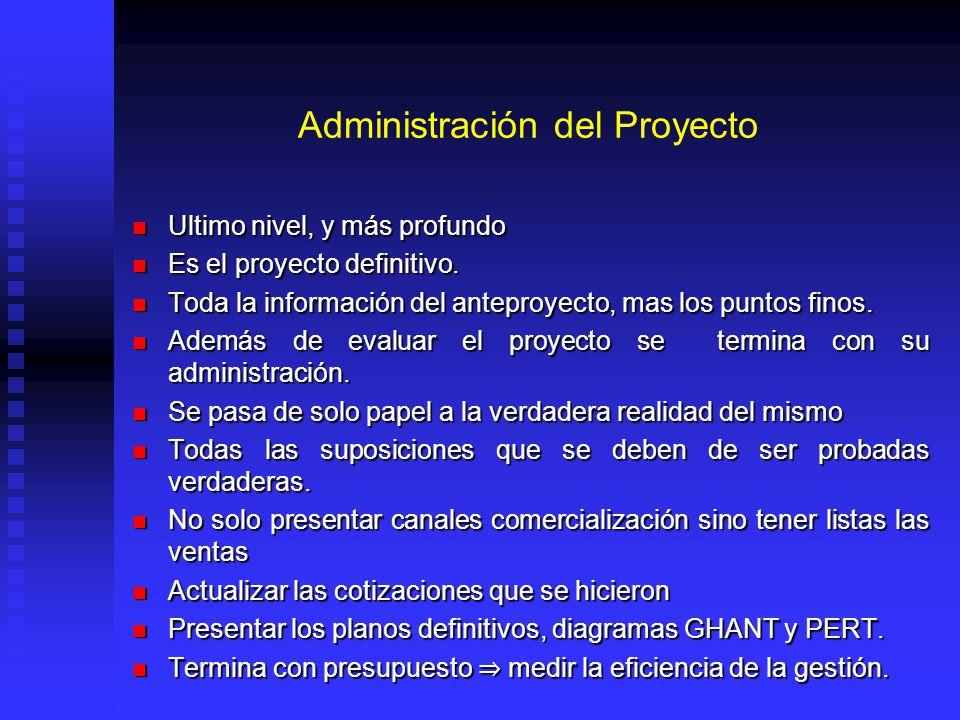 Administración del Proyecto Ultimo nivel, y más profundo Ultimo nivel, y más profundo Es el proyecto definitivo. Es el proyecto definitivo. Toda la in