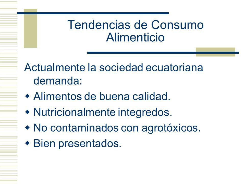 Tendencias de Consumo Alimenticio Actualmente la sociedad ecuatoriana demanda: Alimentos de buena calidad. Nutricionalmente integredos. No contaminado