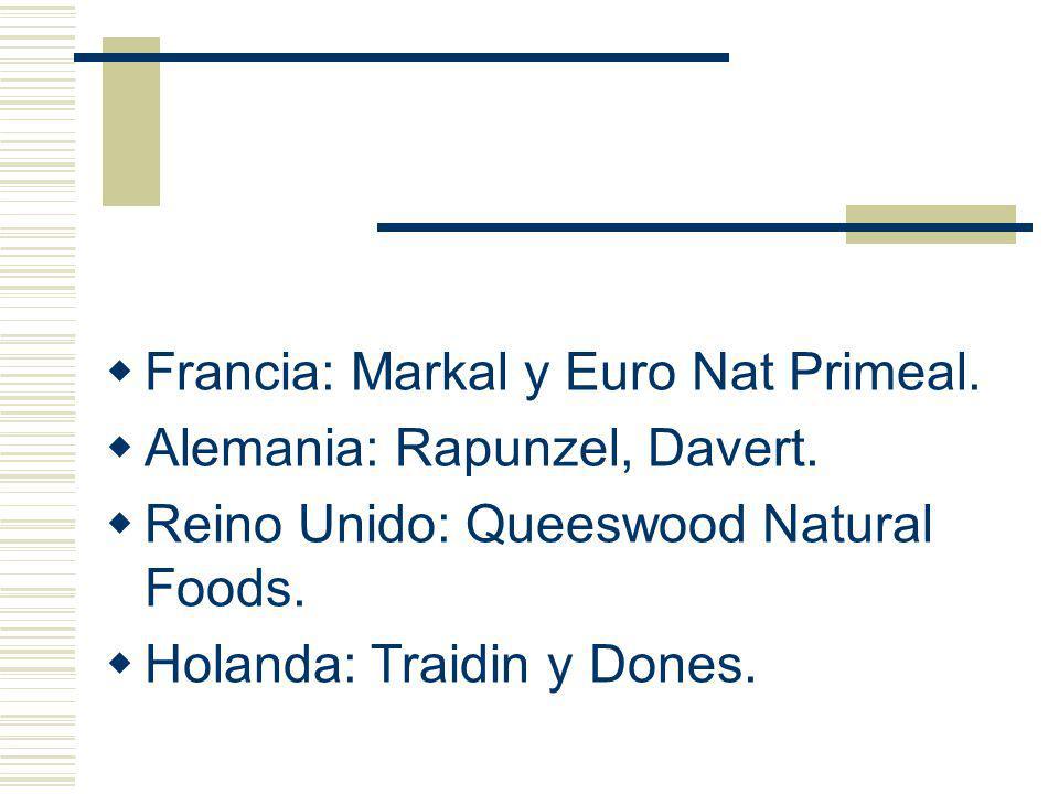 Francia: Markal y Euro Nat Primeal. Alemania: Rapunzel, Davert. Reino Unido: Queeswood Natural Foods. Holanda: Traidin y Dones.