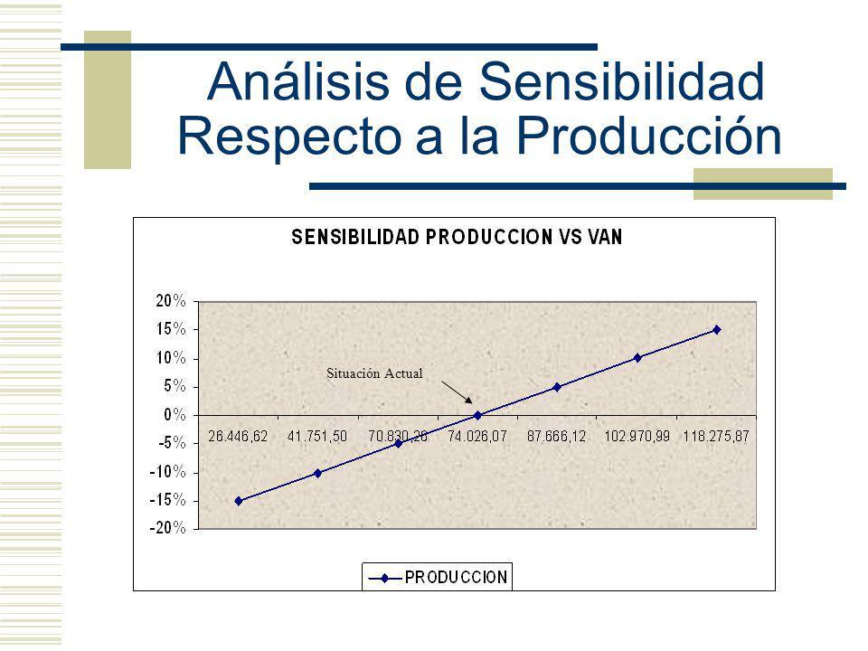 Análisis de Sensibilidad Respecto a la Producción Situación Actual
