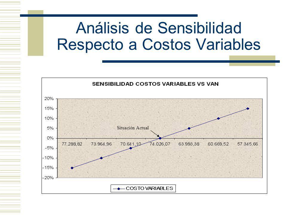 Análisis de Sensibilidad Respecto a Costos Variables Situación Actual
