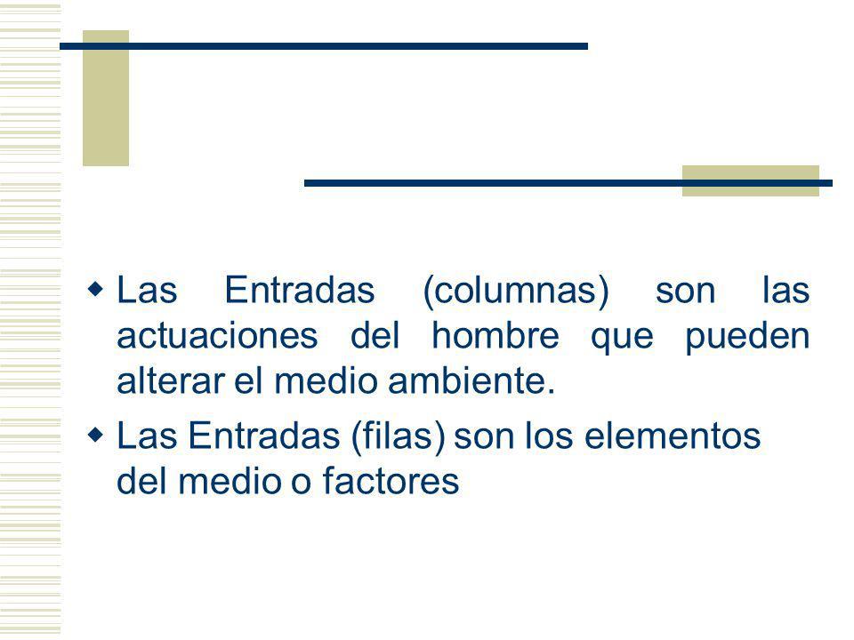 Las Entradas (columnas) son las actuaciones del hombre que pueden alterar el medio ambiente. Las Entradas (filas) son los elementos del medio o factor