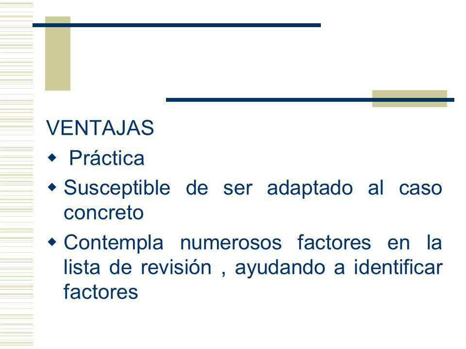 VENTAJAS Práctica Susceptible de ser adaptado al caso concreto Contempla numerosos factores en la lista de revisión, ayudando a identificar factores