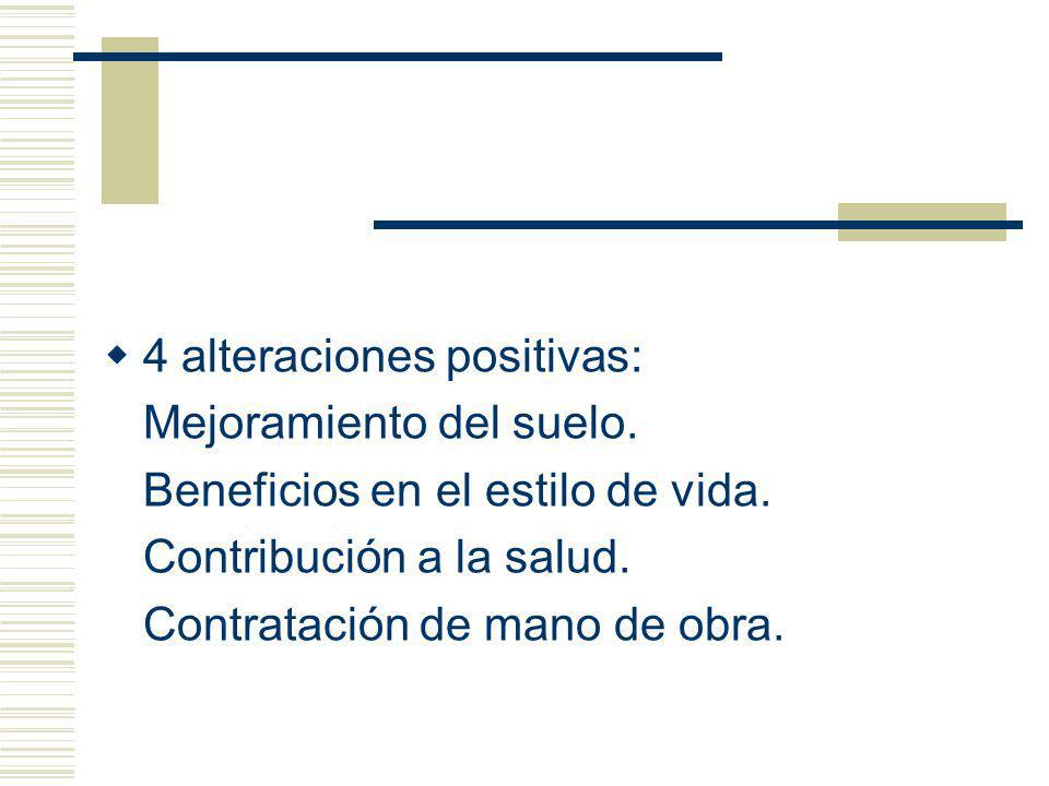 4 alteraciones positivas: Mejoramiento del suelo. Beneficios en el estilo de vida. Contribución a la salud. Contratación de mano de obra.