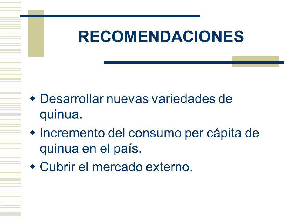 RECOMENDACIONES Desarrollar nuevas variedades de quinua. Incremento del consumo per cápita de quinua en el país. Cubrir el mercado externo.