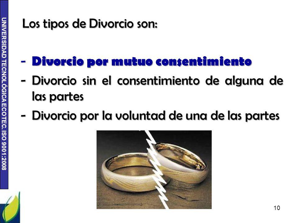 UNIVERSIDAD TECNOLÓGICA ECOTEC. ISO 9001:2008 Los tipos de Divorcio son: - Divorcio por mutuo consentimiento -Divorcio sin el consentimiento de alguna