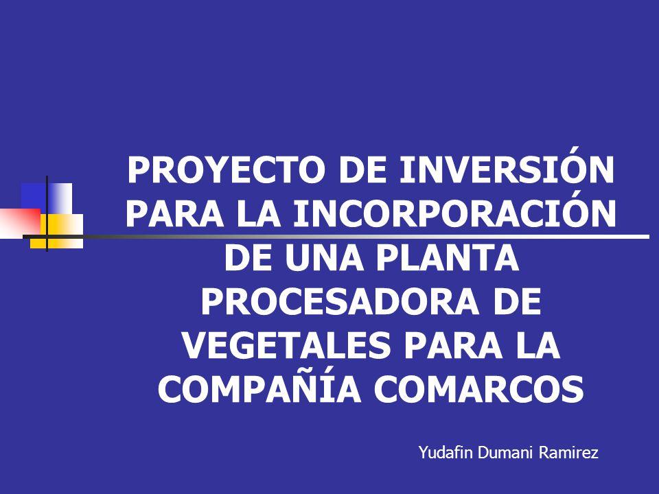 PROYECTO DE INVERSIÓN PARA LA INCORPORACIÓN DE UNA PLANTA PROCESADORA DE VEGETALES PARA LA COMPAÑÍA COMARCOS Yudafin Dumani Ramirez