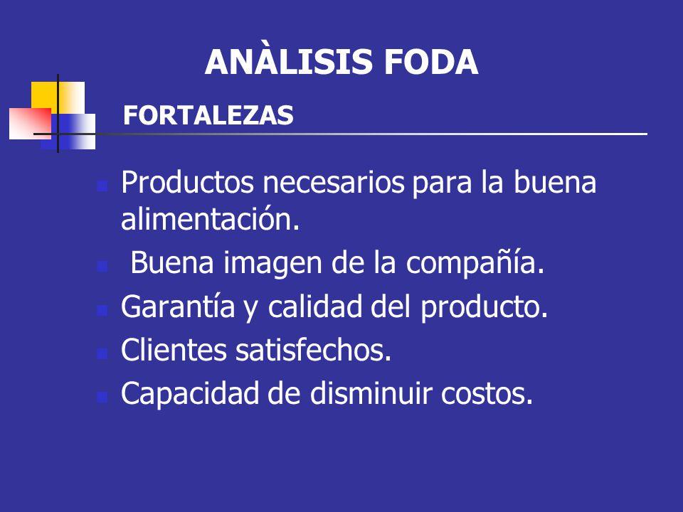 Productos necesarios para la buena alimentación. Buena imagen de la compañía. Garantía y calidad del producto. Clientes satisfechos. Capacidad de dism