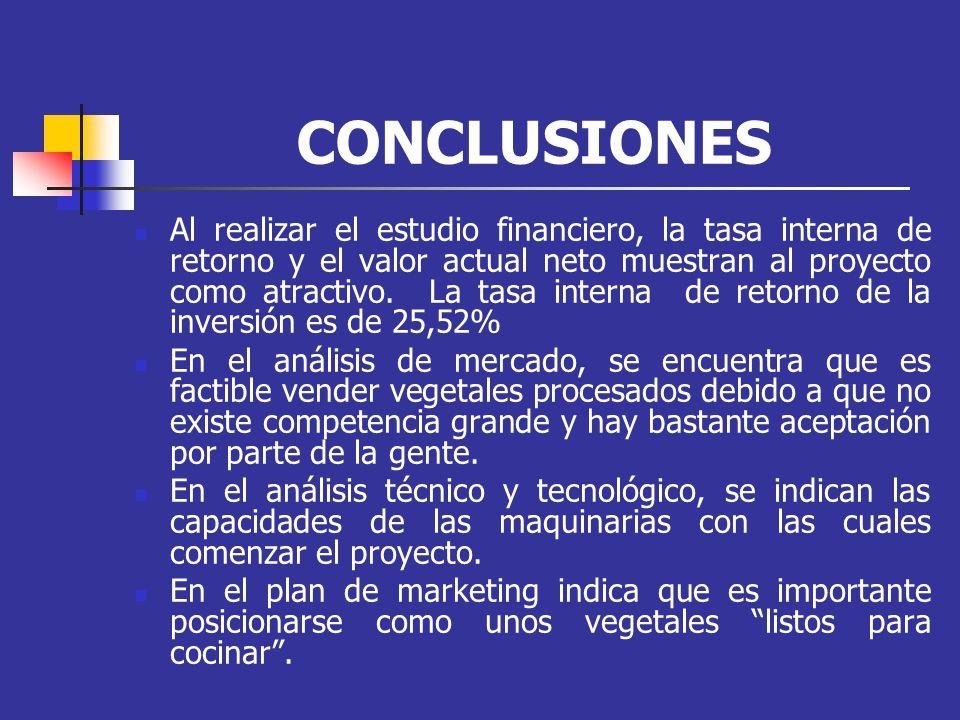 CONCLUSIONES Al realizar el estudio financiero, la tasa interna de retorno y el valor actual neto muestran al proyecto como atractivo. La tasa interna