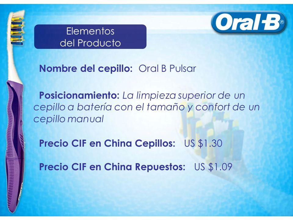 Nombre del cepillo: Oral B Pulsar Posicionamiento: La limpieza superior de un cepillo a batería con el tamaño y confort de un cepillo manual Precio CIF en China Cepillos: US $1.30 Precio CIF en China Repuestos: US $1.09 Elementos del Producto