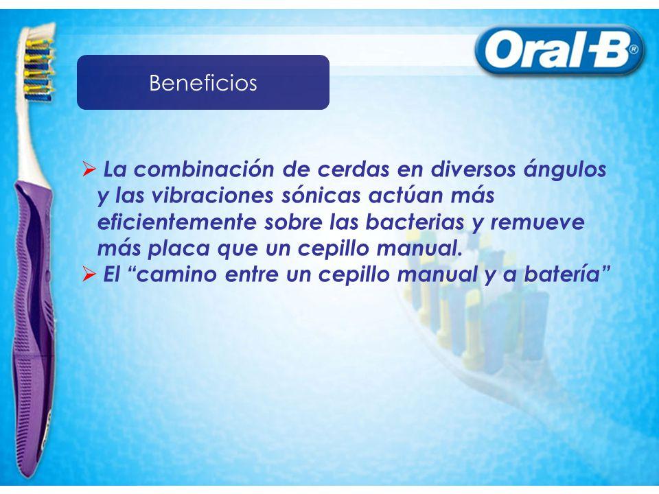 La combinación de cerdas en diversos ángulos y las vibraciones sónicas actúan más eficientemente sobre las bacterias y remueve más placa que un cepillo manual.
